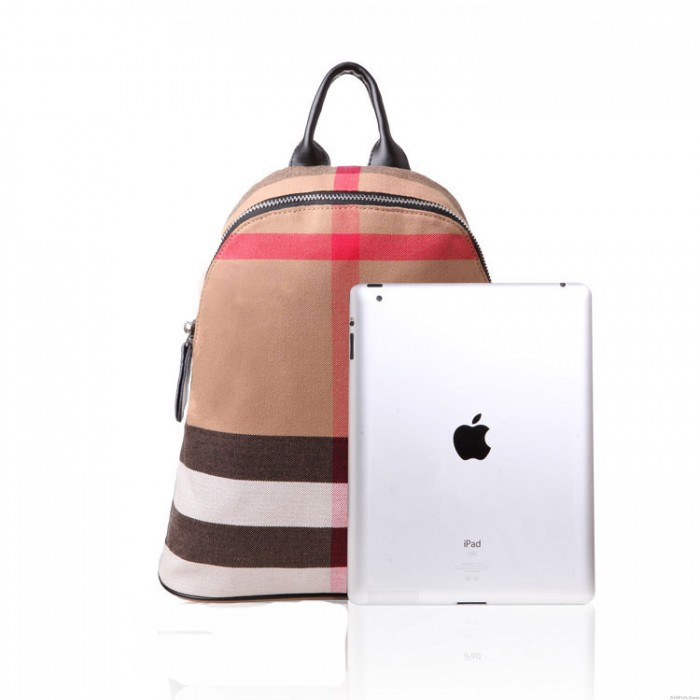 Simple Style Plaid Striped Canvas Women Backpack Travel Bags