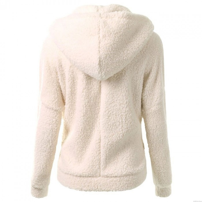 Simple Winter Lambswool Zipper Outwear Hoodies Fluff Coat Pullover Warm Hooded Sweatshirt