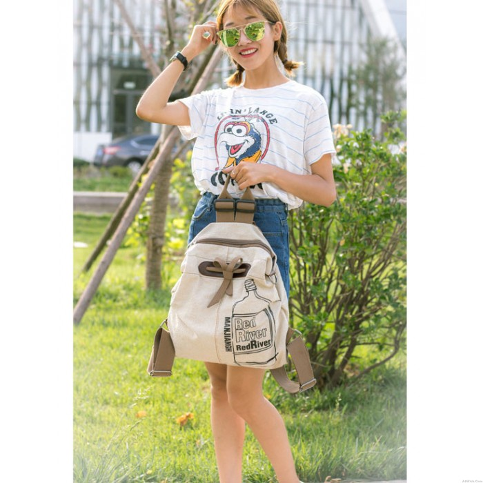 New Literary Fresh Cotton Cloth Minimalist Backpack Schoolbag Travel Backpack