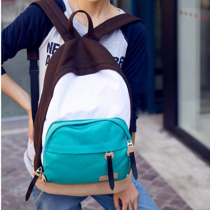 Leisure Multicolor Canvas College Backpacks