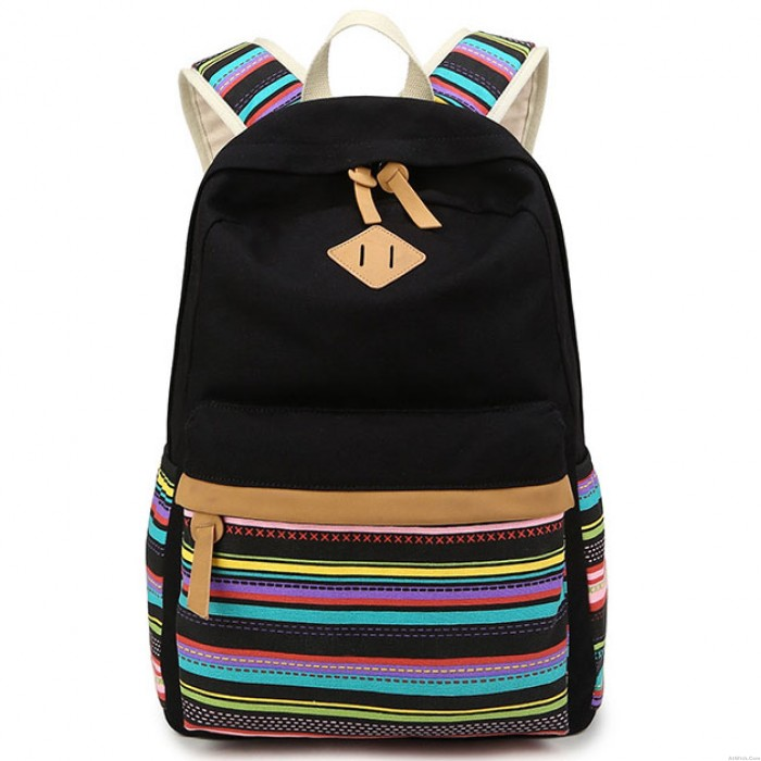 Leisure Totem Folk Colorful Stripes Design Student Bag Leisure Travel Canvas School Backpack