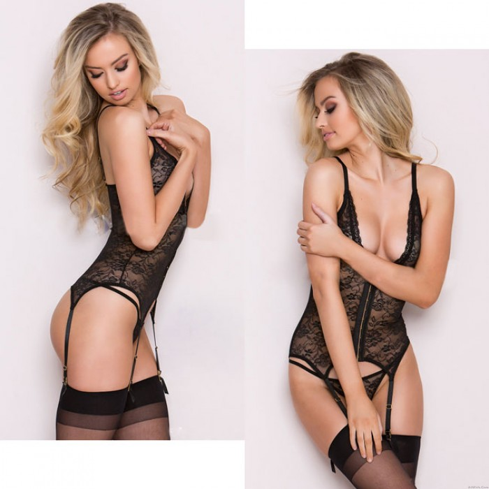 Sexy Women's Lace Mesh See Through One-piece Waistcoat Deep V-neck Lingerie
