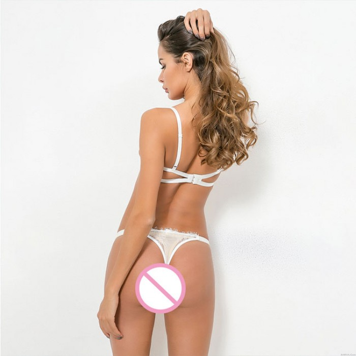 Sexy Steel Ring Mesh Perspective Lace Underwear Bra Set Intimate Lingerie