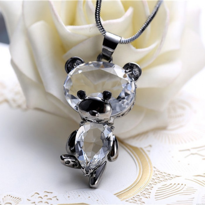 Cute Crystal Dancing Bear Doll Pendant Women's Necklace Sweater Animal Chain Necklace