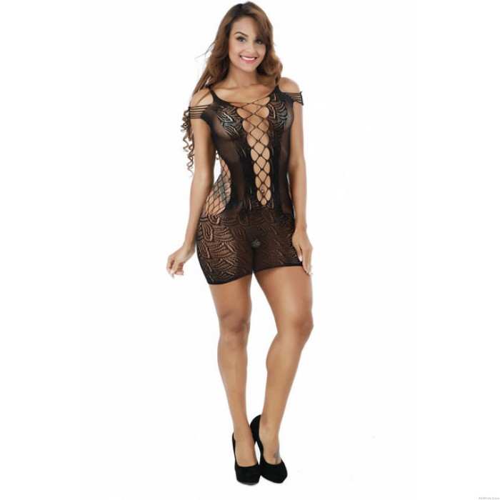 Sexy Mesh Lingerie Set Siamese Hollow Out Skirt Tight Conjoined Net