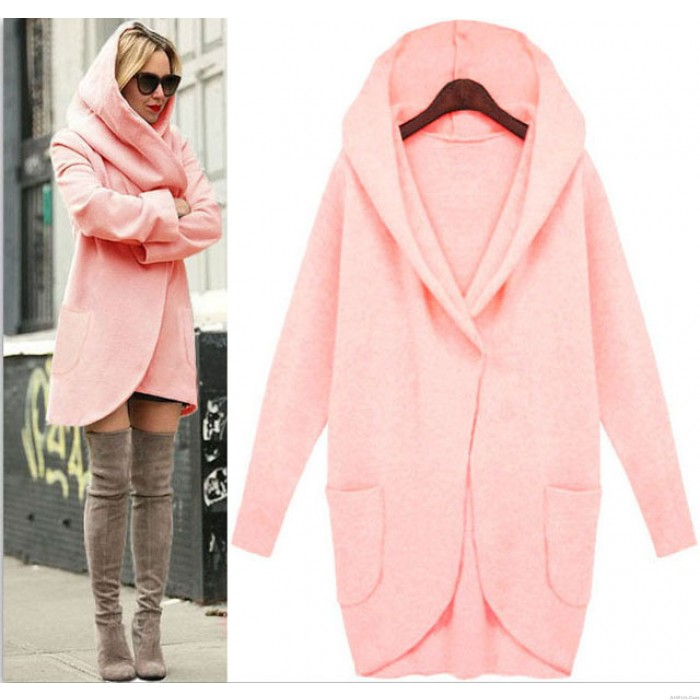 Unique Simple Loose Wool Jacket  Long-sleeved With Pocket