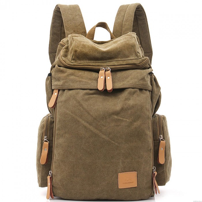 Retro Extensible Large Capacity Travel Backpacks Camping Zippered Washing Color Canvas Backpack