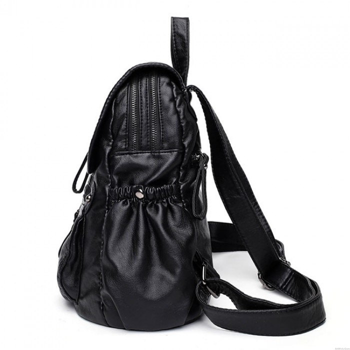 Retro British Style Soft PU Black Leather Double Zippers School Travel Backpack