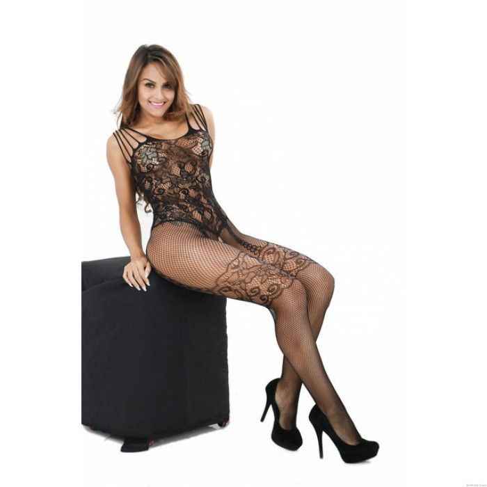 Sexy Cupless Jacquard Open Cup Bras Conjoined Net Bodystocking Lingerie Set