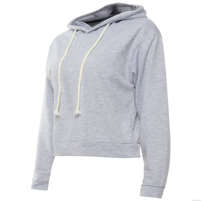 Sexy Crop Top Whole Color Hoodie Pullover Autumn Women's Sweater