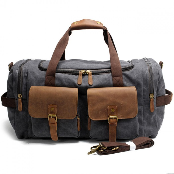 Retro Sports Handbag Large Capacity Travel Laptop Thick Canvas  Real Leather Multi-Pockets Luggage Shoulder Bag