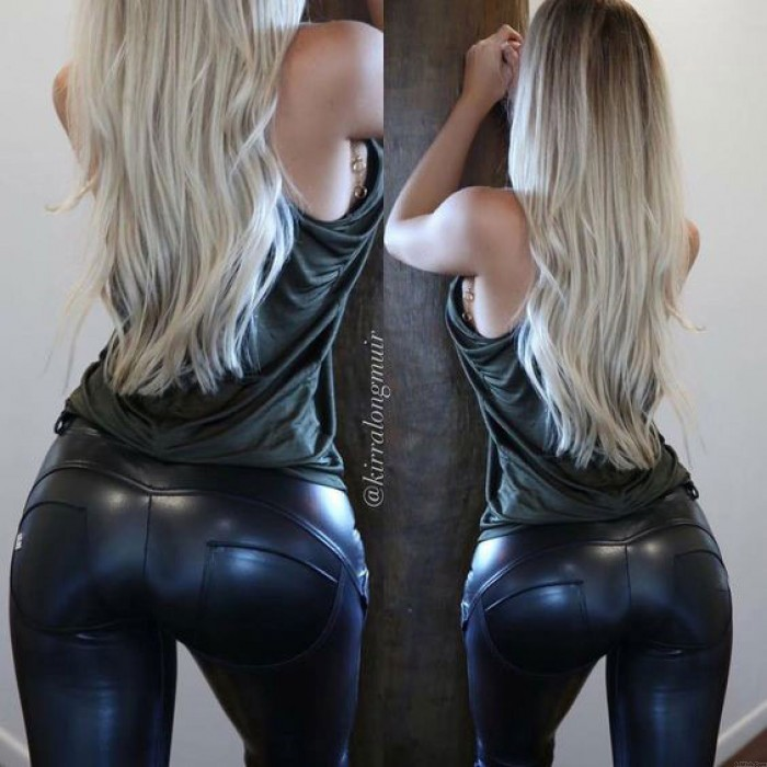 Sexy Black Shape-flaunting Peach Hips Leather Skinny Show Out Your Body Girl's Legging