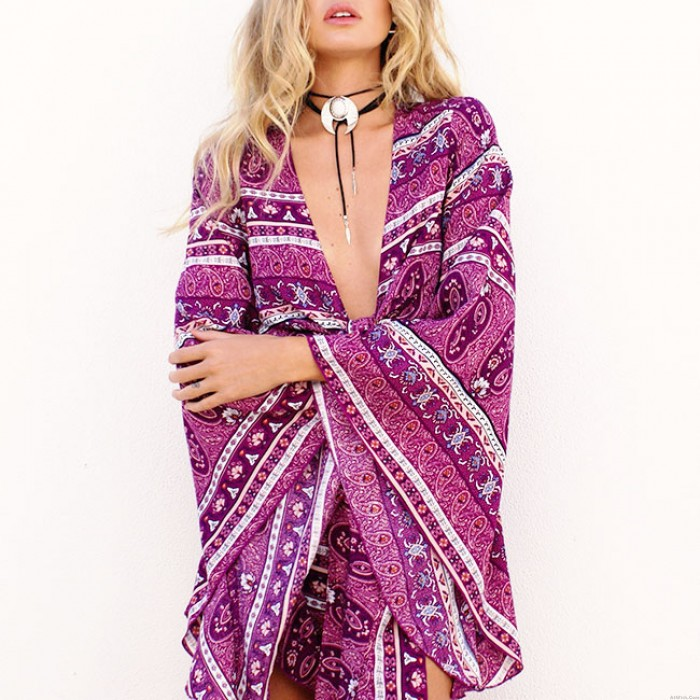 Women's National Style V-neck Trumpet Sleeves  Printing Lace Up Short Jumpsuit