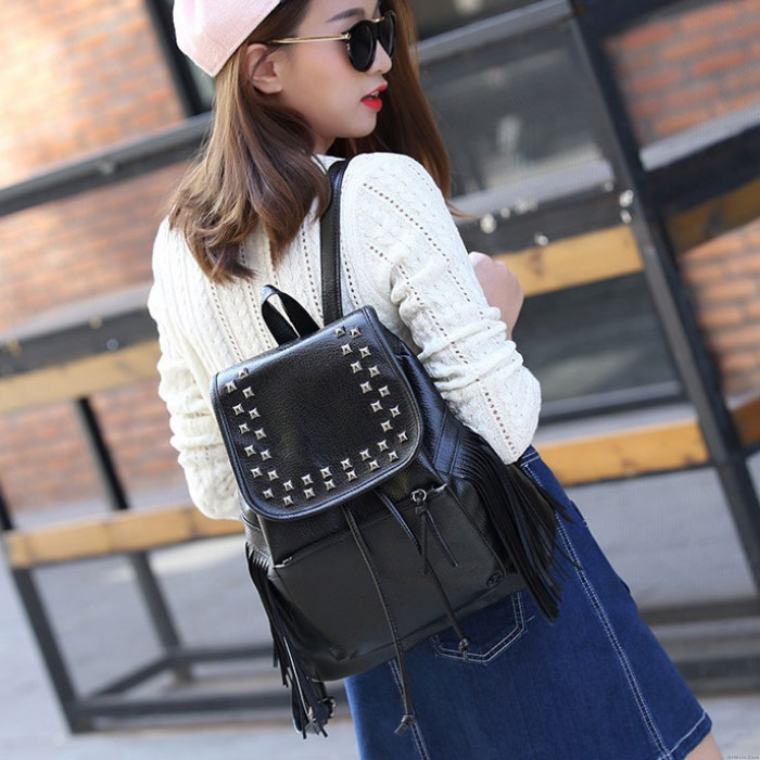 Punk Tassel Black Rivets Waterproof PU  Women Casual College Backpack