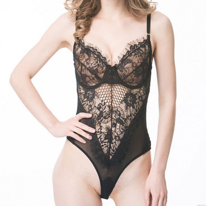 Sexy Black White Lace Lingerie See Through One Piece Women's Lingerie