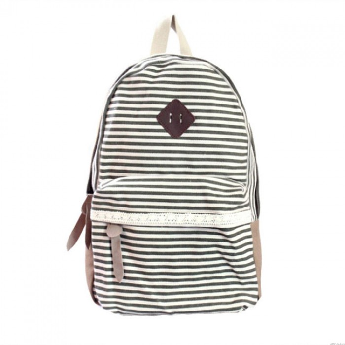 Fresh Striped School Rucksack Stripe Lace College Canvas Backpack