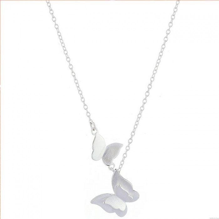 Cute Double Butterfly Silver Necklace Lover Gift Women Necklace