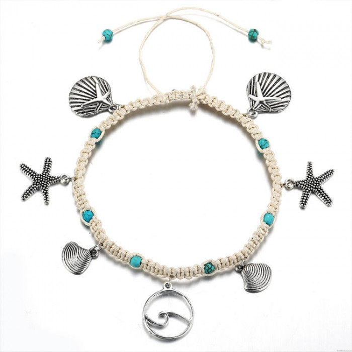Sweet Beach Foot Accessories Rope Starfish Wave Pattern Shell Pendant Anklet