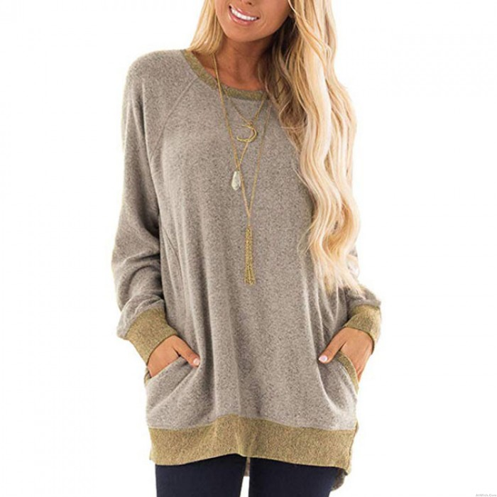Casual Large Loose Long Sleeve Round Neck Pullover Sweatshirt T-shirt Tops Women Coat