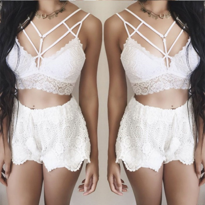 Sexy Gathering Camisoles Bra Intimate Mesh Lace Women Lingerie
