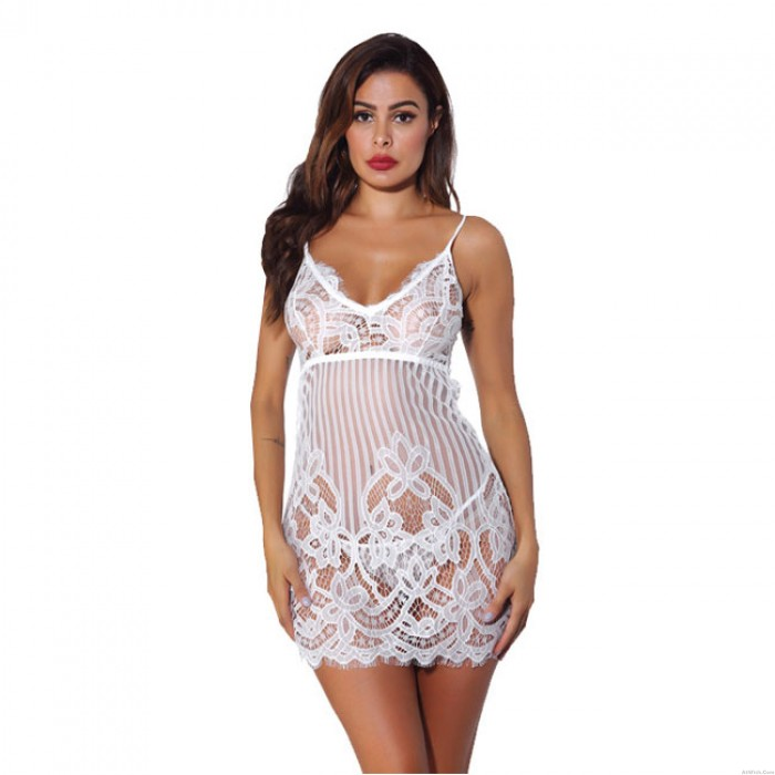 Sexy Flower Lace Hollow Intimate Sling Nightdress Pajamas Women Lingerie
