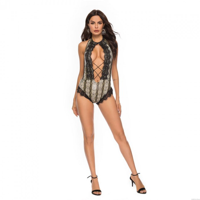 Sexy Siamese Open Bust Lace Conjoined Snakeskin Pattern Women Intimate Lingerie