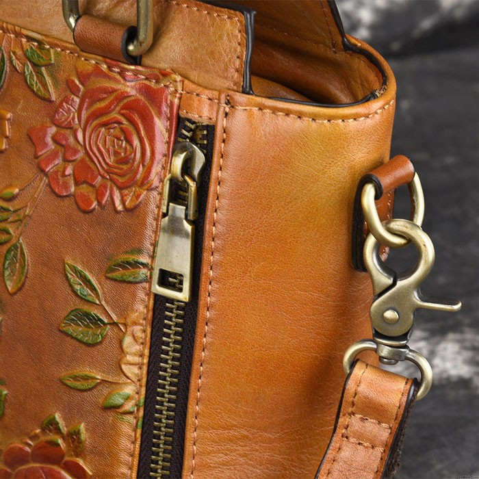 Retro Double Zippers 3D Flower Handbag Handmade Original Leather Vintage Shoulder Bag
