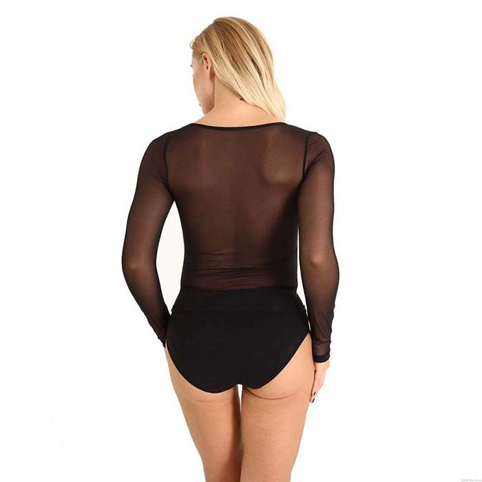 Sexy Bodysuit For Women Temptation Mesh Shirt Transparent Teddy Negligee Tops Long Sleeves Lingerie
