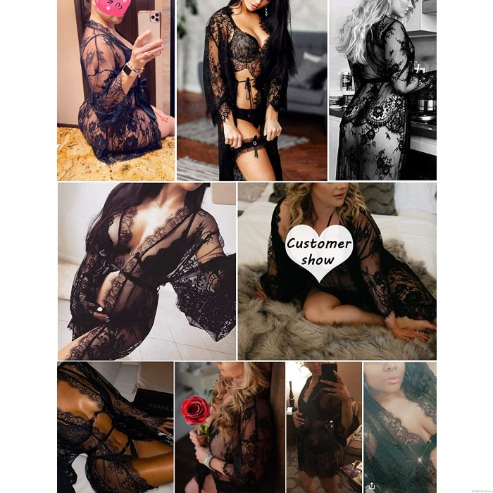 Sexy Hollow See Through Kimono Robe Chemise Mesh Babydoll Nightwear Lingerie Chemise Lace Lingerie For Women