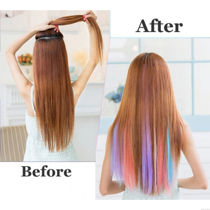 Pretty Colorful Highlights Clip Hair Extensions