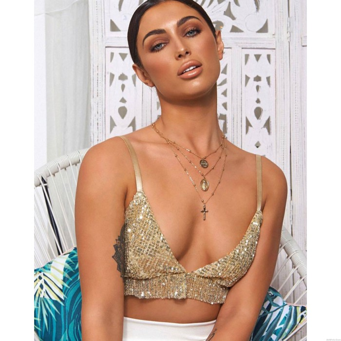 Sexy Sling Sequins Wrapped Chest Bra Summer Vest Lingerie