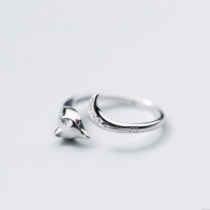 Cute Fox Tail Pattern Carving Silver Open Ring Animal Jewelry Rings