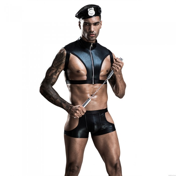 Sexy Police Uniform Slim Kit Cops Cosplay Dress Lingerie Hot Erotic PU Leather Sets Porno Men's Costumes Lingerie