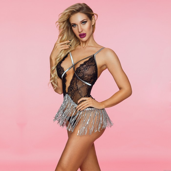 Sexy Lace Cupless Strappy Sequins Tassel Skirts See Through Nightdress Women's Chemise Lingerie