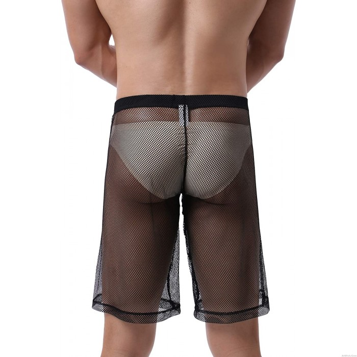 Sexy See Through High Waist Shorts Loose Boxer Briefs Lingerie Men's Sheer Mesh Underpants Trunks