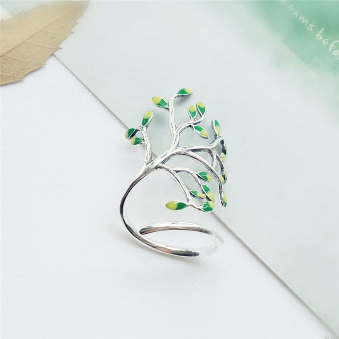Retro Handmade Tree Forest Leave Glaze Branch Silver Open Ring
