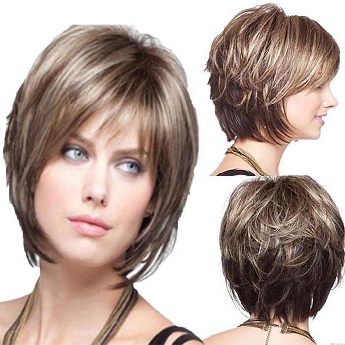 Fashion Lifelike Messy Middle Slightly Curly Hair Women's Hair Wigs