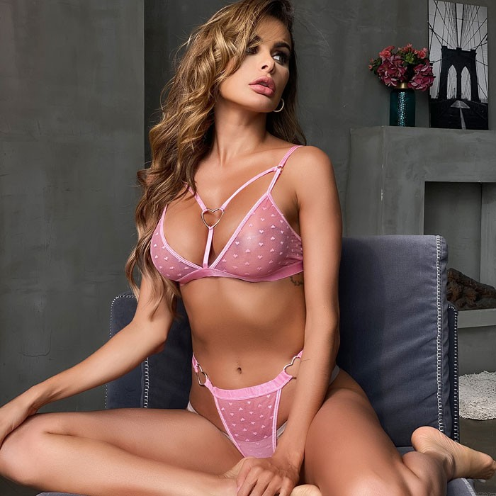 Sexy Pink Love Heart Ring Dot Perspective Bra Set Underwear Spicy Intimate Women's Lingerie