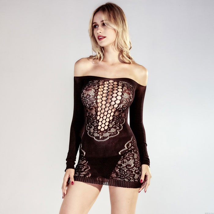 Sexy Black Mesh Off-shoulder Lace Long Sleeves Nightdress See-through Pajamas Hollow Lingerie