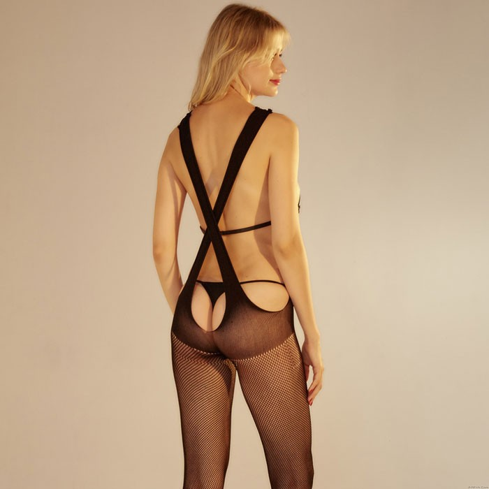 Sexy Sling Stockings Two-wear Net V-neck Conjoined Intimate Women's Lingerie