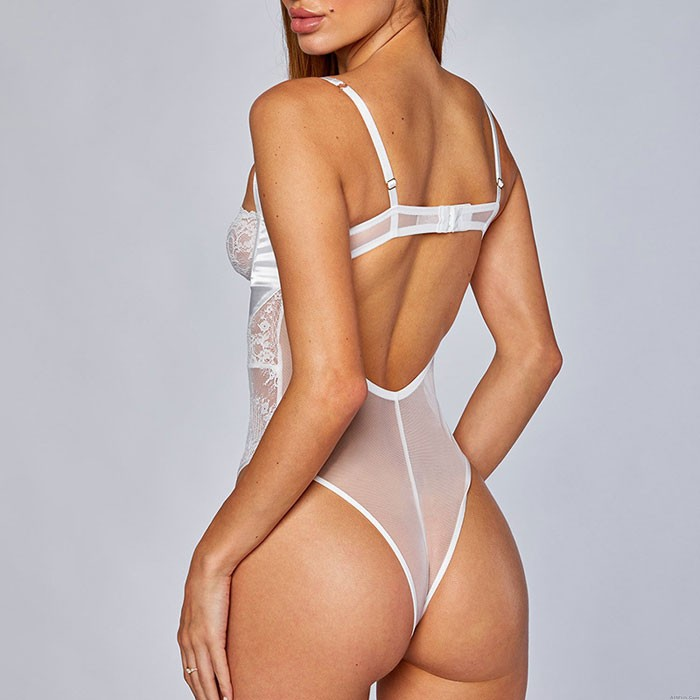 Sexy Strap Cross Backless Lace Transparent Bandage Conjoined Women's Lingerie