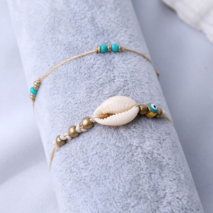 Fashion Simple Shell Bead Summer Two Layer Beach Women's Anklet