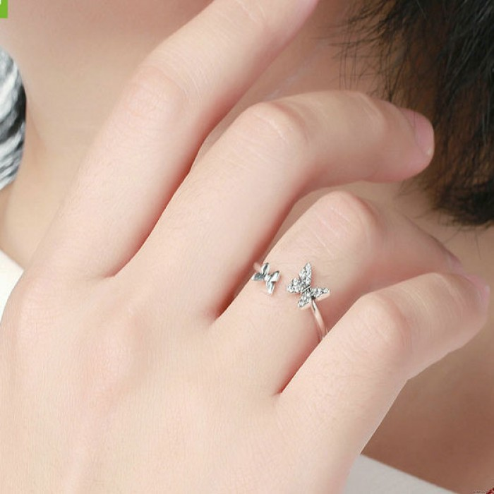 Cute Double Butterfly Open Rings for Women Adjustable Crystal Dainty Animal Promise Engagement Wedding Silver Ring