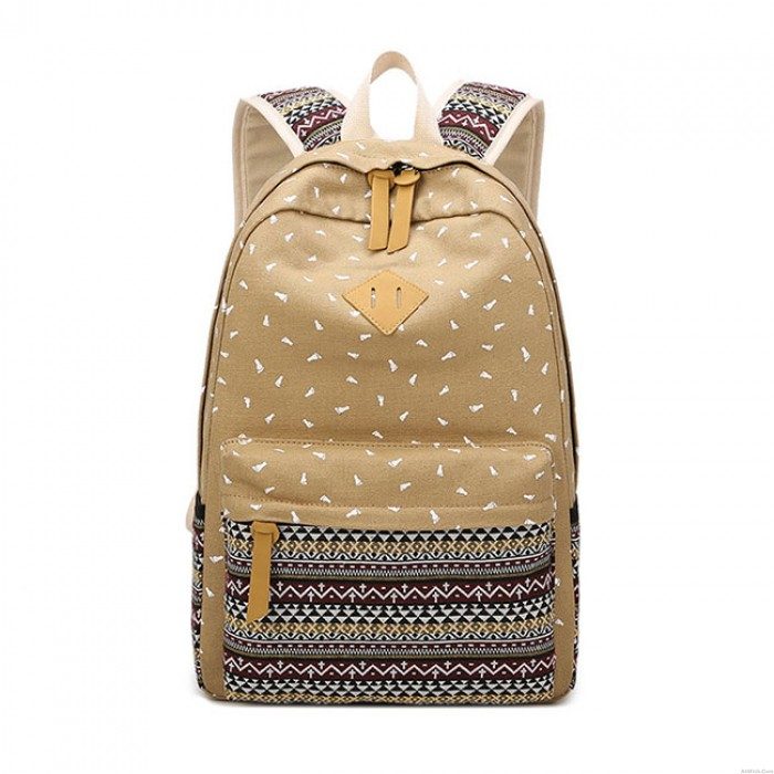 Fresh Totem Trunk Large Folk Student School Bag Striped Canvas Backpack