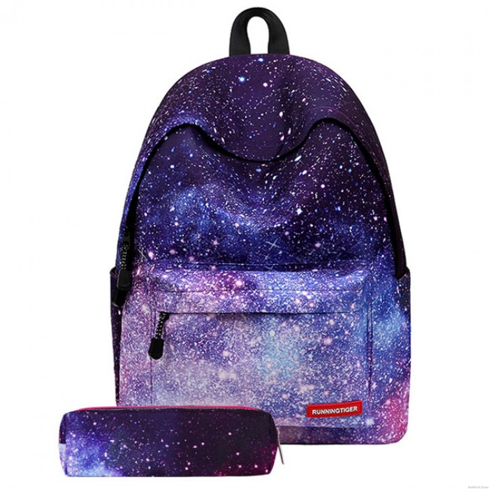 Leisure Starry Sky Rhombus Blue Striped Gradient color Large Capacity Canvas School Backpack