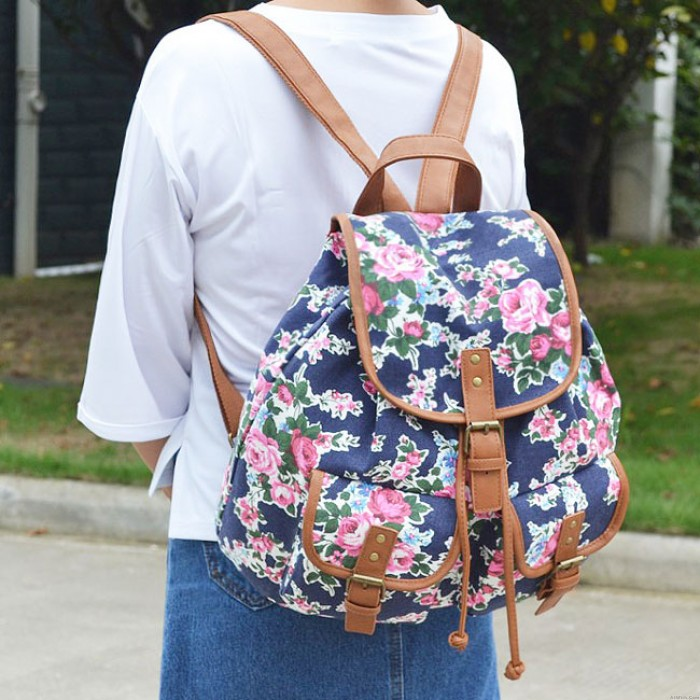 National Colorful Flowers Printing Backpack Two Pockets Floral PU Girl's Canvas School Backpack