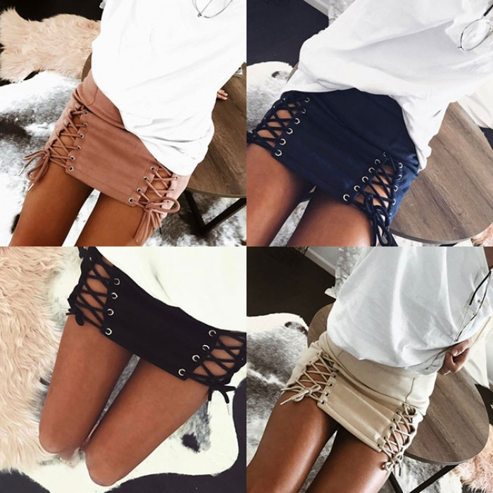 Sexy Suede Bandages Hip Bust Weaving Short Women's Skirt