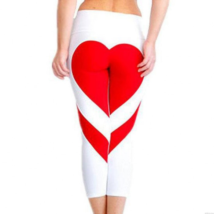 New Two Colors Heart Splicing Showing Raised Buttocks Style Yoga Sport Skinny Girl's Legging