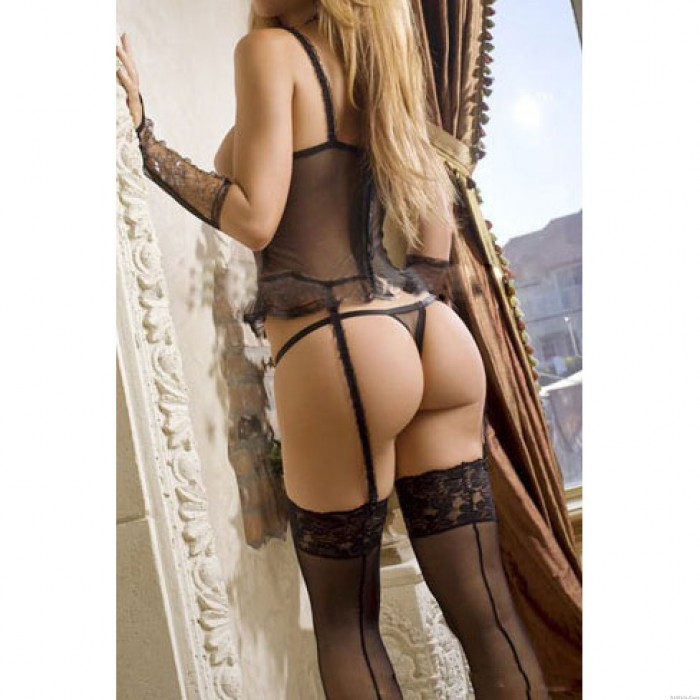 Sexy Lace See Through Expose Breast Sleepwear Gloves Garter Buckle Women's Lingerie