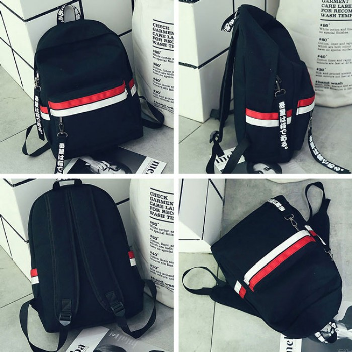 Simple Two Color Stripes Waterproof Striped Student Bag Canvas School Backpack